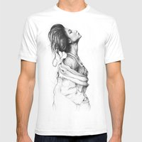 Pretty Lady Pencil Portr… Mens Fitted Tee White SMALL