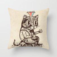 Strange Cat Throw Pillow