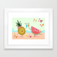 Pineapple And Watermelon Framed Art Print