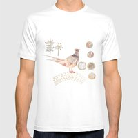 Decorative Pheasant Mens Fitted Tee White SMALL