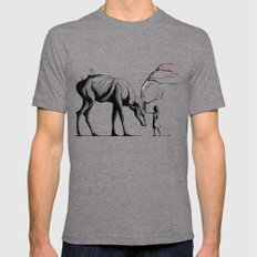 Knowing the Deer Tree Mens Fitted Tee Tri-Grey SMALL