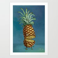 Art Print featuring Mr. Pineapple Head by EternalEyes Design