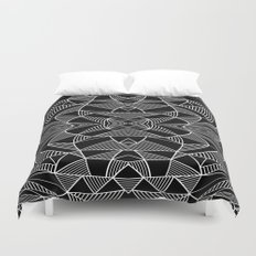 Abstraction Lines Mirrored White on Black Duvet Cover