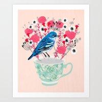 Bird On A Teacup By Andr… Art Print
