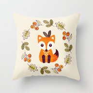 Throw Pillow featuring LITTLE FOX WITH AUTUMN B… by Daisy Beatrice