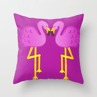 Double Flamingo Love Throw Pillow