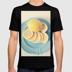Lemons on Blue Black SMALL Mens Fitted Tee