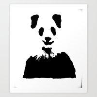 Pandas Blend Into White … Art Print