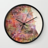 Chicago Map Wall Clock