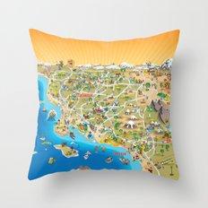 Cartoon Map Of Southern … Throw Pillow