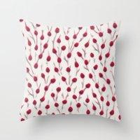 Budding (Red) Throw Pillow