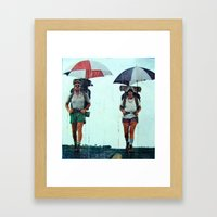 Rain Hiking Framed Art Print