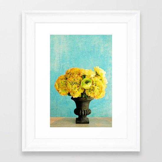 Flower in blue room Framed Art Print