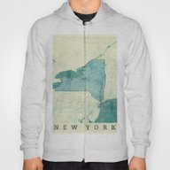 New York Map Blue Vintag… Hoody