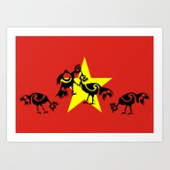 Vietnam Flag, Roosters S… Art Print