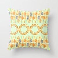 Ethnic Orange Pattern Throw Pillow