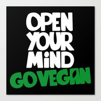 Open Your Mind Go Vegan Canvas Print