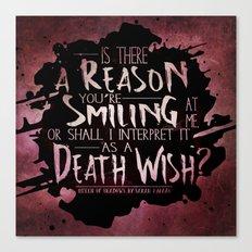 Death Wish Quote Design Canvas Print