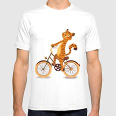 Tiger on the bike SMALL Mens Fitted Tee White