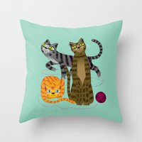 Three Cool Cats Throw Pillow