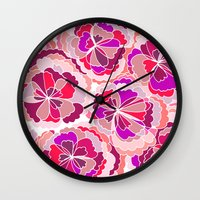 Floral Fuchsia Wall Clock