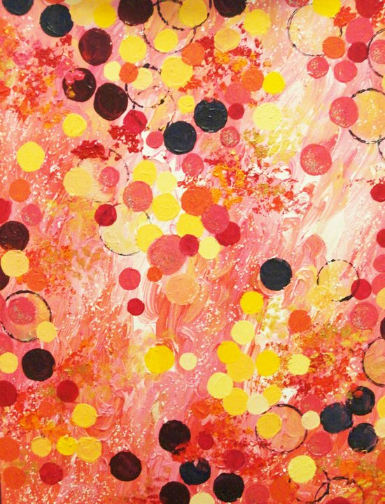 PERSONAL BUBBLE - Hot Pink Bubblegum Pop Fun Whimsical Circles Abstract Acrylic Painting Gift Art Print