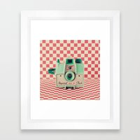 Mint Retro Camera On Red… Framed Art Print