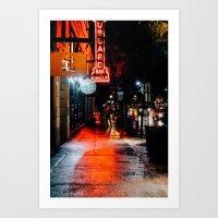 City Lights on City streets Art Print