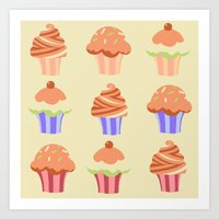 Art Print featuring Yummy Cupcakes by Laura Cartwright