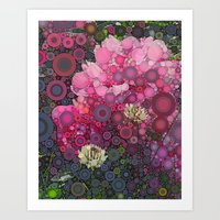 Pink Flowers at Twilight Abstract Art Print