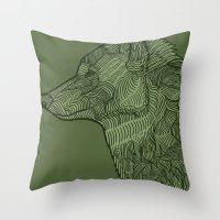 Enthusiastic Wolf Throw Pillow
