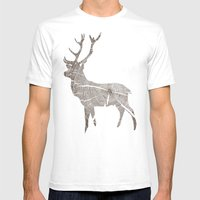 Wood Grain Stag Mens Fitted Tee White SMALL