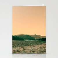 Sunsetting landscape photography of sky, lake and mountain. Stationery Cards