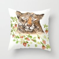 Tiger in Strawberries Throw Pillow