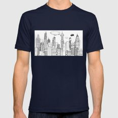 Gotham City Skyline Mens Fitted Tee Navy SMALL