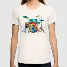 The Drums - Music Art By Sharon Cummings Womens Fitted Tee Natural SMALL