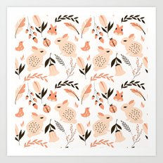 Rabbits And Flowers 001 Art Print