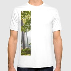 Pine trees viewed through autumnal Beech tree leaves. Norfolk, UK. White Mens Fitted Tee SMALL