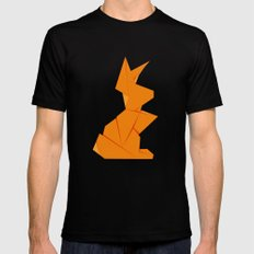 Origami Hare Mens Fitted Tee SMALL Black