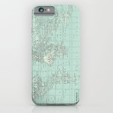 Vintage World Map in Soft Teal iPhone 6 Slim Case