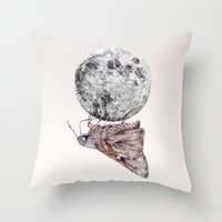 In which a moth is enticed by the light of the moon Throw Pillow
