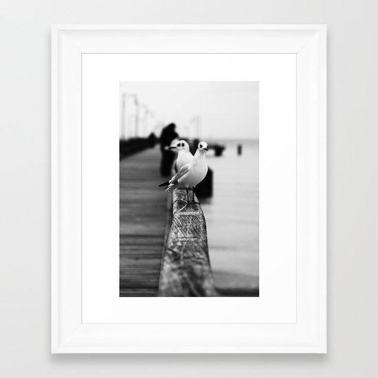 Gulls on the Pier - Black & White Photography Framed Art Print