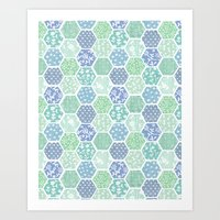 Cool Hex Patchwork Art Print