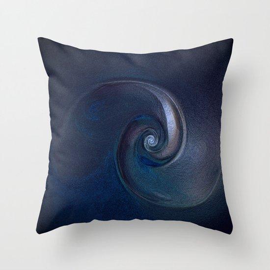 Sea Shell in Dark Blue Throw Pillow