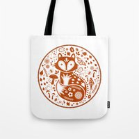 Tote Bag featuring Copper Fox by Lynette Sherrard Illustration and Design