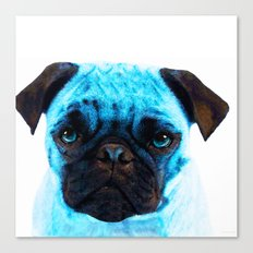 Blue Pug Dog Pop Art By … Canvas Print