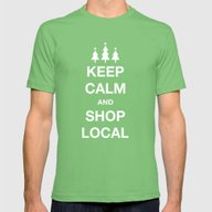 KEEP CALM SHOP LOCAL Mens Fitted Tee Grass SMALL