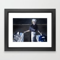 Red, Grey, and Blue Framed Art Print