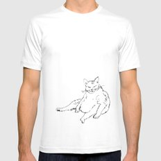 Fat Cat illustration White SMALL Mens Fitted Tee