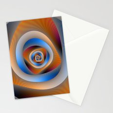 Spiral Labyrinth in Orange and Blue Stationery Cards